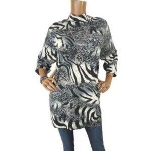 SUSAN GRAVER  XL Tunic Shirt Stretch Mock Neck